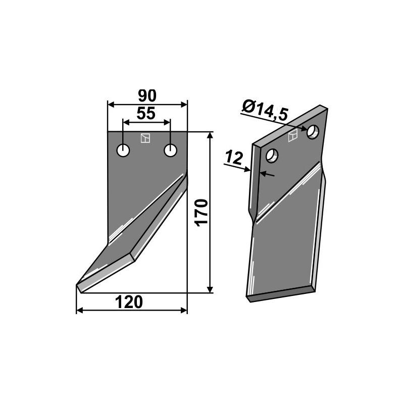 Dent rotative, modèle gauche - Ortiflor - 344002