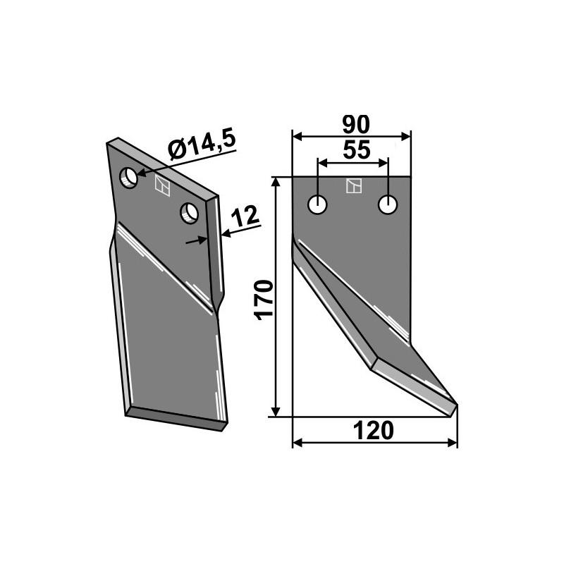 Dent rotative, modèle droit - Ortiflor - 344002