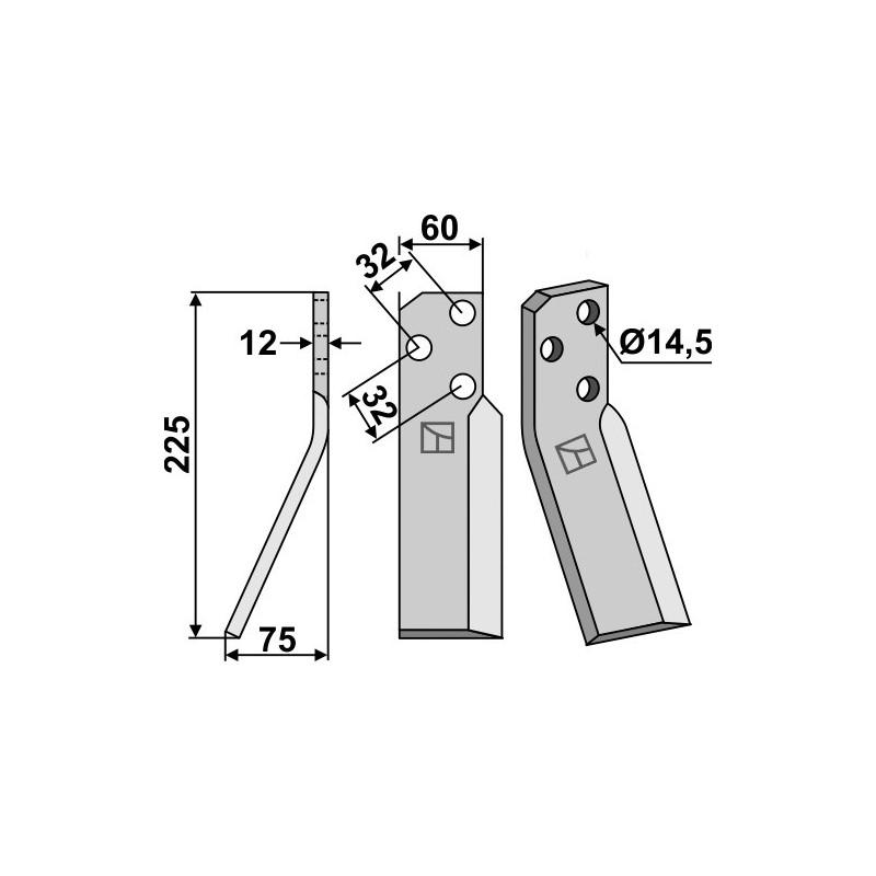 Dent rotative, modèle gauche - Renter L.M.T. - RTG