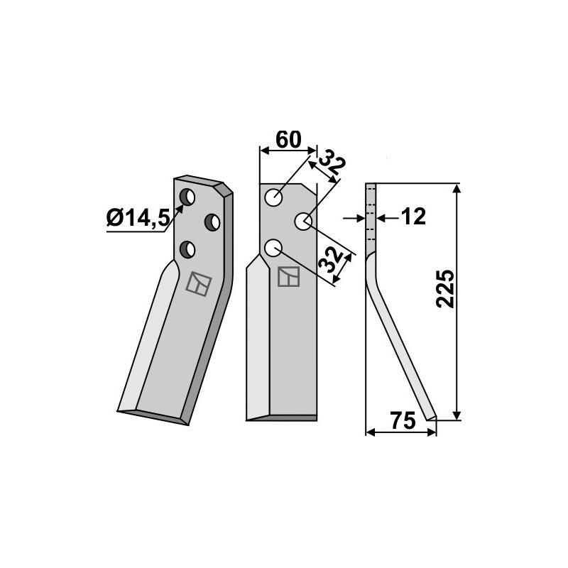 Dent rotative, modèle droit - Renter L.M.T. - RTG