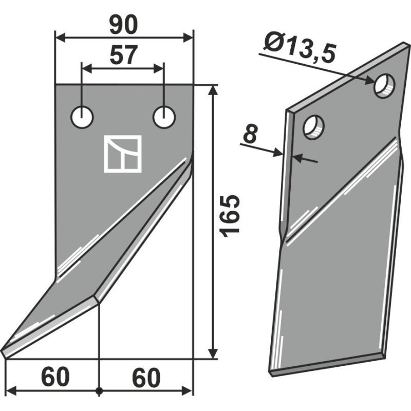 Dent rotative, modèle gauche - Rota Dairon - 450.1004