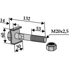 Boulon avec écrou frein M 20 x 2,5 - 8.8 - Agrimaster - 3000313