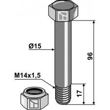 Boulon avec écrou frein - M14x1,5 - 10.9 - Bomford - Schraube 05.775.10 - Mutter 05.968.06