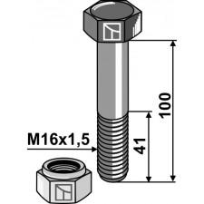 Boulon avec écrou frein - M16x1,5 - 10.9 - AG002613