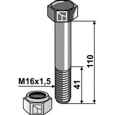 Boulon avec écrou frein - M16x1,5 - 10.9 - Kverneland - MA0000163