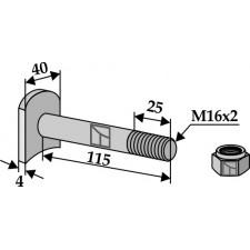Boulon M 16 x 2 - 8.8 avec écrou frein - Humus - 590-95-073 Schraube   90980602 Mutter