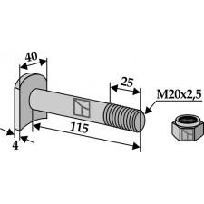 Boulon M 20 x 2,5 - 8.8 avec écrou frein - Humus - Schraube 22495014  Mutter 9098601
