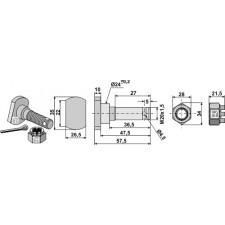 Boulon M 20 x 1,5 pour couteau avec écrou à créneaux dégagés - Humus - Schraube 19/451151 Mutter 19/165051