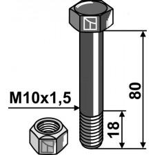 Boulon avec écrou frein - M10x1,5 - 10.9 - Müthing - Schraube: MU0801041 Mutter: MU980201