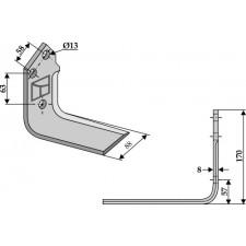 Couteau pour fossoyeuse - droit - Mulag - TM 60190012 / 143480