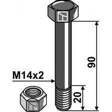 Boulon avec écrou frein - M14x2 - 12.9 - Agromec - Schraube 1101434 Mutter 1012414