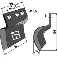 Couteau pour fossoyeuse - gauche - AG001717
