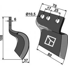 Couteau pour fossoyeuse - droit - AG001716