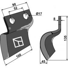 Couteau pour fossoyeuse - gauche - AG001715