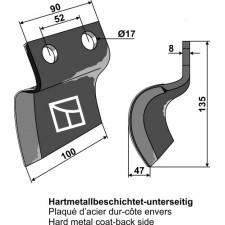 Couteau pour fossoyeuse - gauche - AG001714