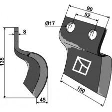 Couteau pour fossoyeuse - droit - AG001713