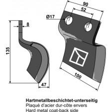 Couteau pour fossoyeuse - droit - AG001712