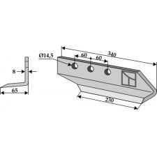 Couteau pour fossoyeuse - modèle droit - AG001699