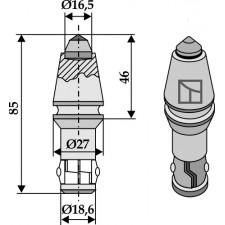 Burin à corps cylindrique pour fossoyeuses avec insertion en métal dur - AG001622