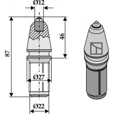 Burin à corps cylindrique pour fossoyeuses avec insertion en métal dur - AG001619