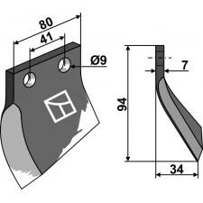 Couteau pour fossoyeuse - modèle gauche - Oosterlaan - G.T.1 LI