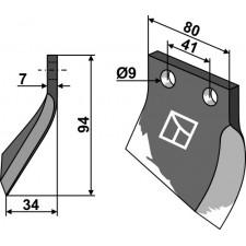 Couteau pour fossoyeuse - modèle droite - Oosterlaan - G.T.1 RE