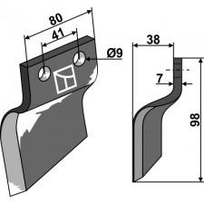 Couteau pour fossoyeuse - modèle gauche - Oosterlaan - G.T.2 LI