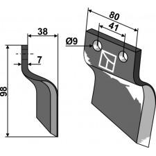 Couteau pour fossoyeuse - modèle droite - Oosterlaan - G.T.2 RE