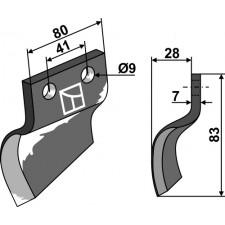 Couteau pour fossoyeuse - modèle gauche - Oosterlaan - S.T. LI