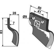 Couteau pour fossoyeuse - modèle droite - Oosterlaan - S.T. RE