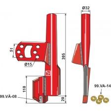 Tube de semoir compl. avec 4 rondelles caoutchouc, gauche - Väderstad - 306530 - 306532 - 432116