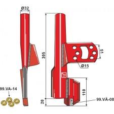 Tube de semoir compl. avec 4 rondelles caoutchouc, droit - Väderstad - 306531 - 306533 - 432117