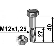 Boulon avec écrou à freinage interne - M12x1,25x40 - 12.9