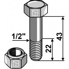 Boulon avec écrou à freinage interne - 1/2''UNF - Taarup - 40882400