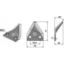 Couteau pour mélangeurs de fourrage, gauche - AG005690