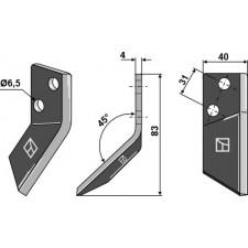 Couteau pour mélangeurs de fourrage, gauche - DeLaval - 94832701