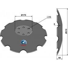 Disque crénelé à fond plat Ø610 - Lemken Rubin - 3490466