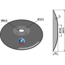 Disque lisse à fond plat - Ø410x5 - AG006447
