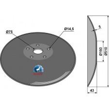 Disque lisse à fond plat - Ø510x5 - AG006445