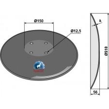 Disque lisse à fond plat - Ø510x4 - Pöttinger - 85041024.1