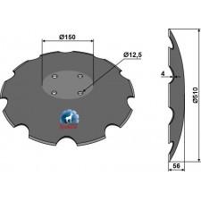 Disque crénelé à fond plat Ø510 - Pöttinger - 85041023.1