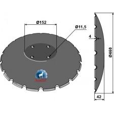 Disque crénelé à fond plat Ø460 - Amazone / BBG - XL044