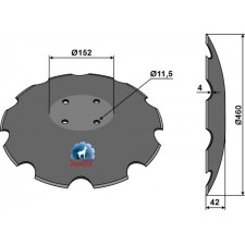 Disque crénelée à fond plat - Ø460 - Amazone / BBG - XL043