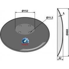 Disque lisse à fond plat - Ø460x4 - Amazone / BBG - XL041