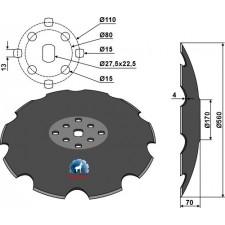 Disque crénelé à fond plat Ø560 - Agrisem - TCS-DIS-531