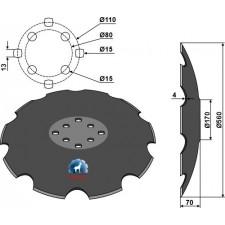 Disque crénelé à fond plat Ø560 - Agrisem - TCS-DIS-537