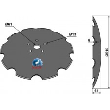 Disque crénelé - Ø510x6 - Amazone / BBG - HC125