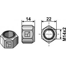 Écrou tout-métal avec partie de serrage M14x2 -DIN980 galv. 10.9 - Maschio / Gaspardo - F01230073R