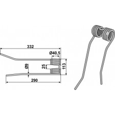 Dent de fenaison - modèle droit - PZ-Zweegers - PZ 190