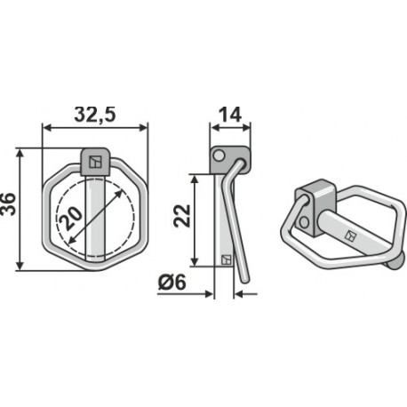 Goupille clip 6.0x21 - Amazone - DG086 / 0808310
